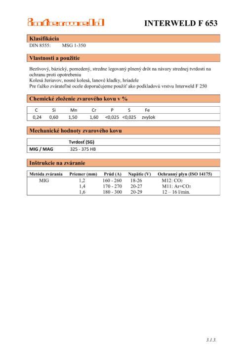 IW F 653 Plnený drôt na návary strednej tvrdosti